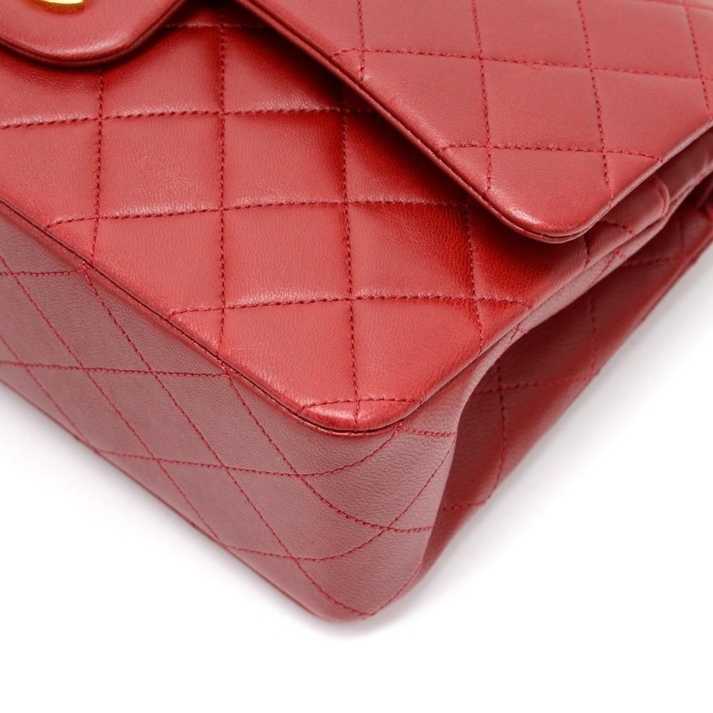 "2.55 10"" Double Flap Quilted Lambskin Leather Shoulder Bag"