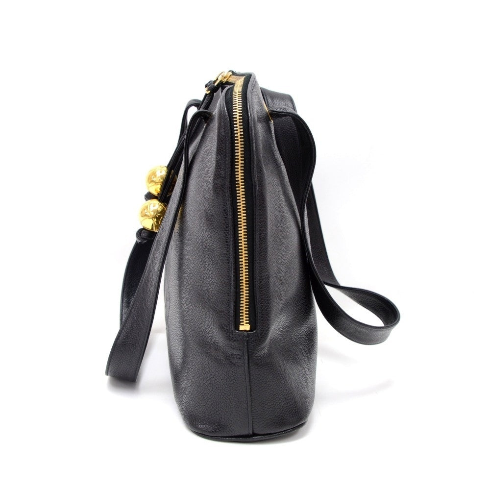 "14"" Caviar Leather Tote Bag"