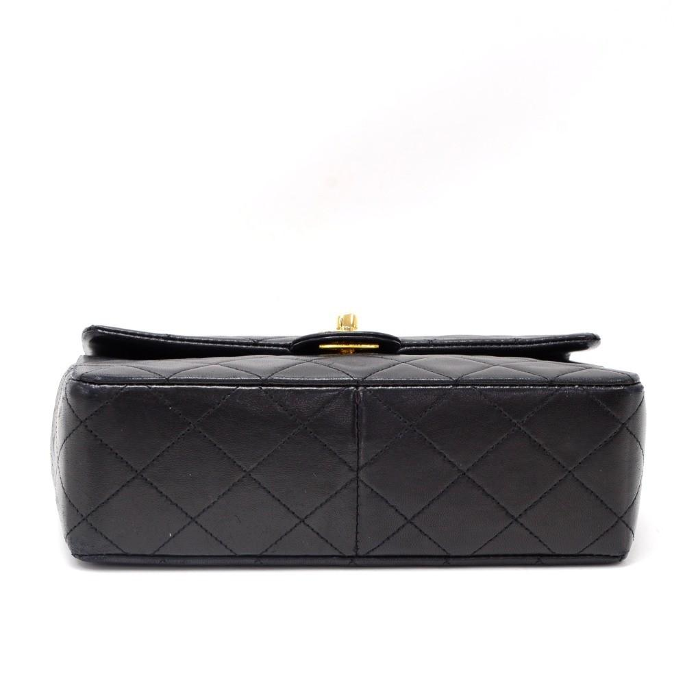 "8"" Single Flap Quilted Lambskin Leather Shoulder Bag"