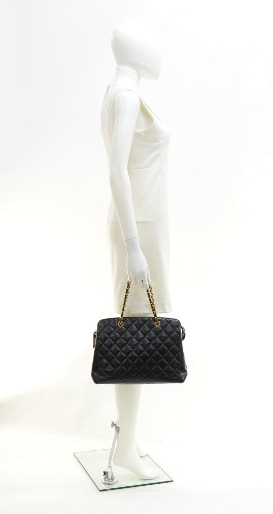 "12"" Quilted Lambskin Leather Tote Bag"