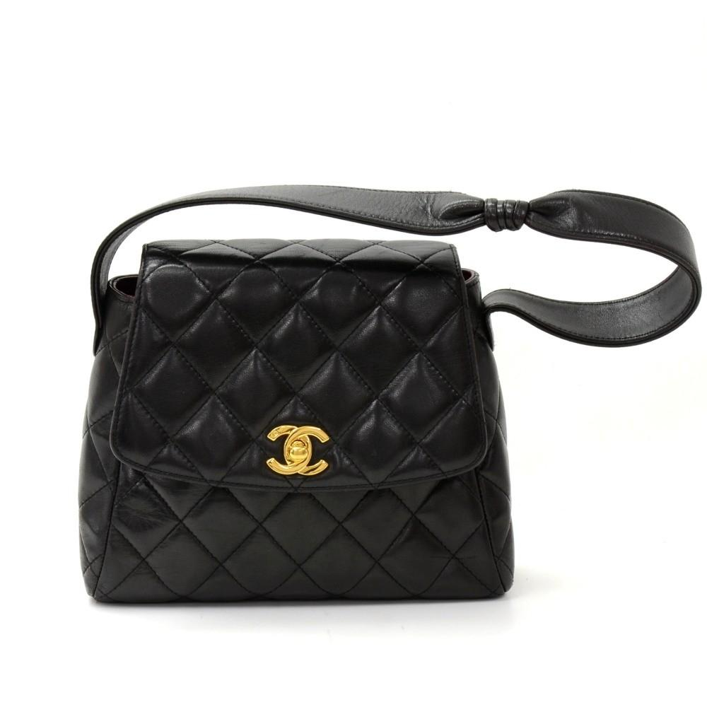 "8"" Quilted Lambskin Leather Shoulder Bag"