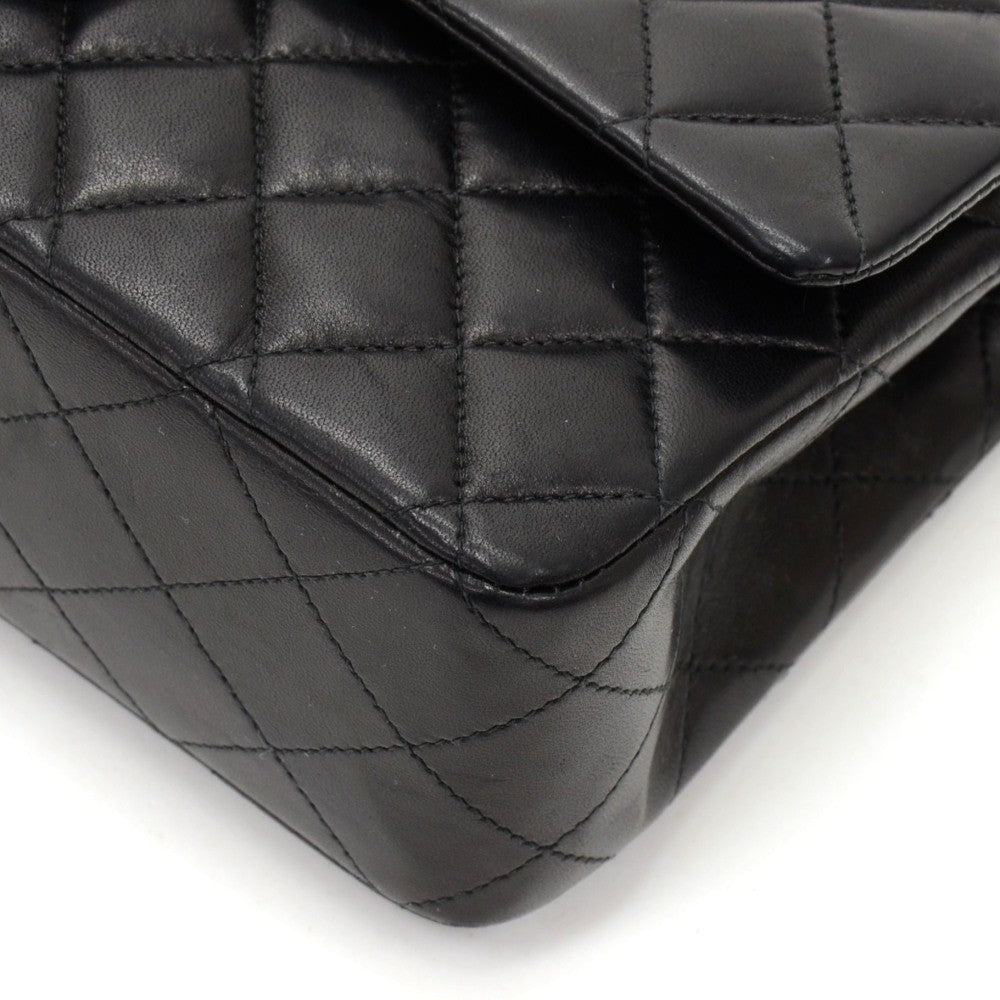 "10"" Double Flap Quilted Lambskin Leather Shoulder Bag"