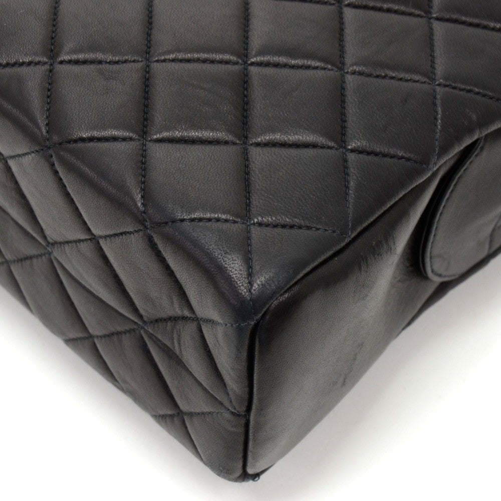 "14"" Quilted Lambskin Leather Tote Bag"