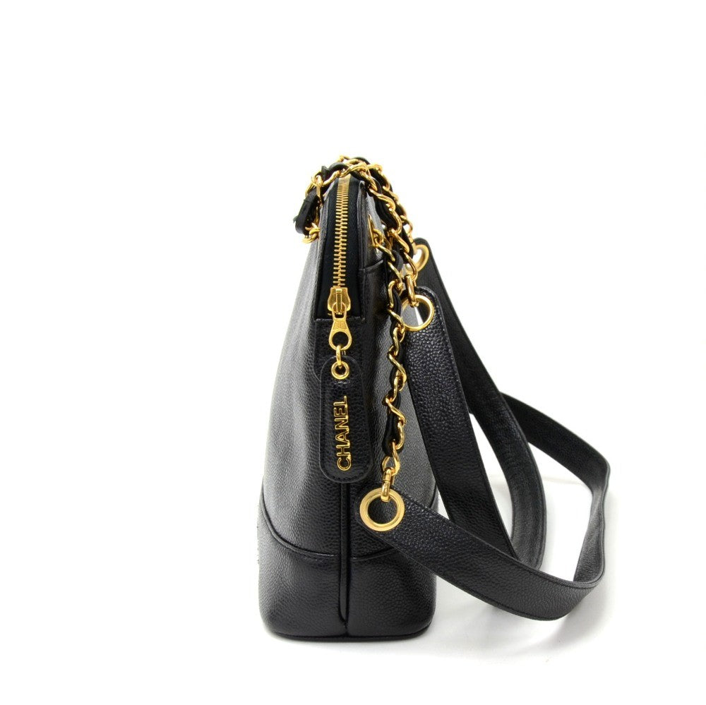 "12"" Caviar Leather Tote Bag"