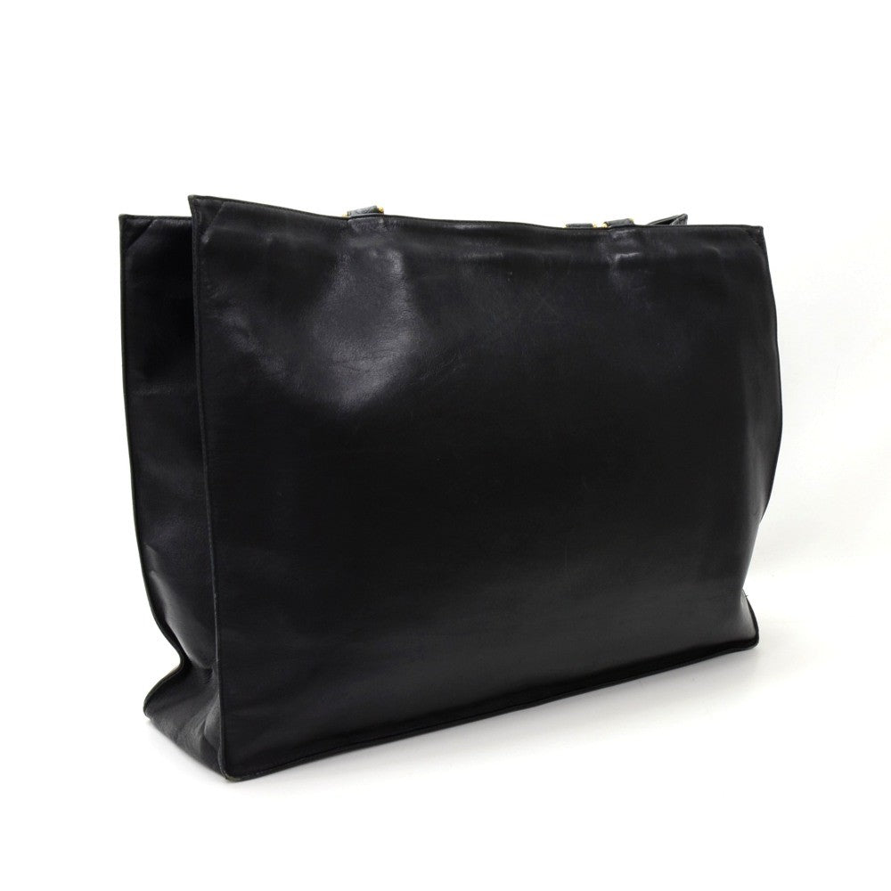 Jumbo Lambskin Leather Shopping Tote Bag
