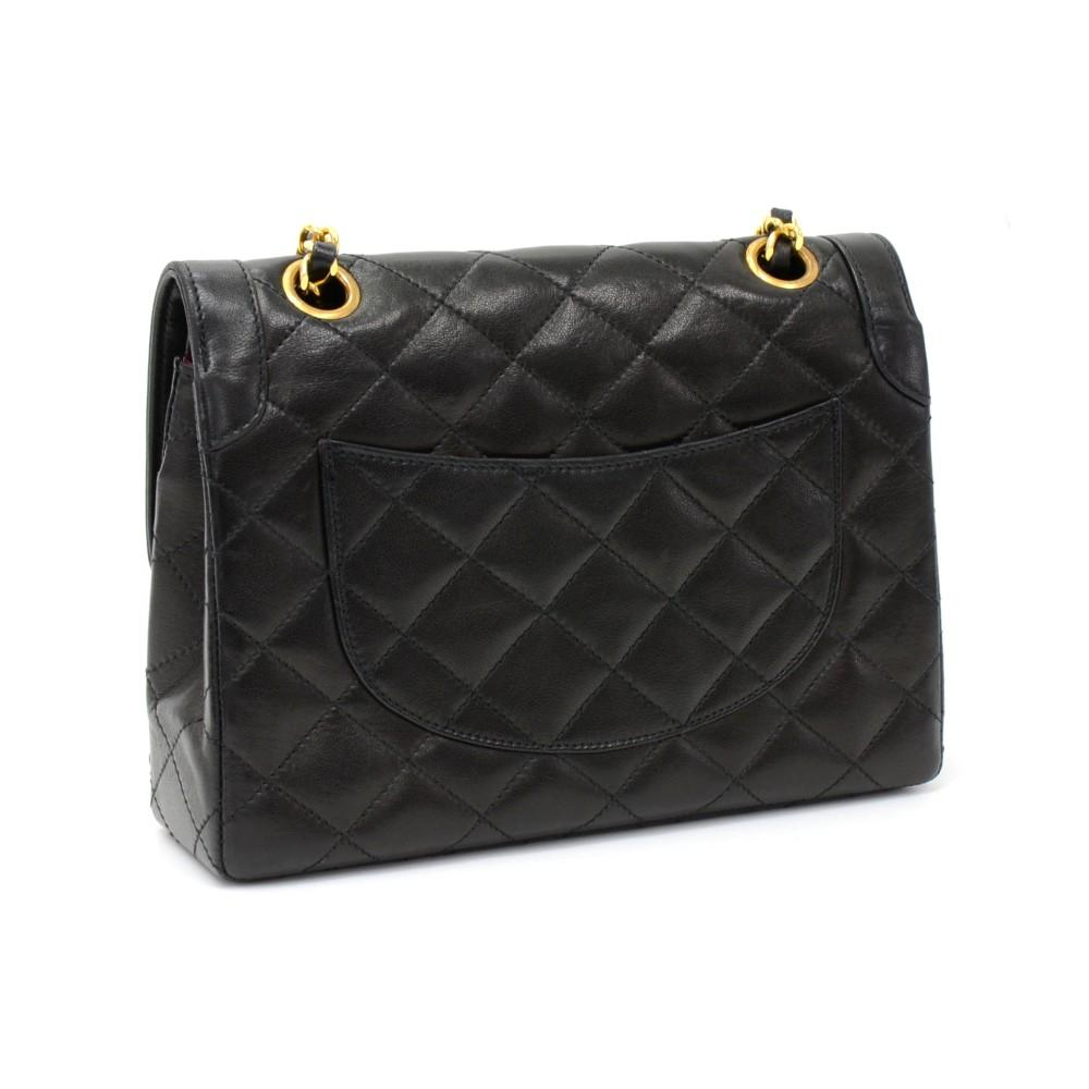 "8"" Double Flap Quilted Lambskin Leather Shoulder Bag - Paris Limited Edition"