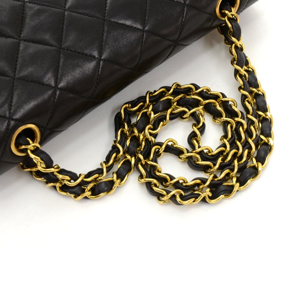 Double Flap Black Quilted Lambskin Leather Shoulder Bag