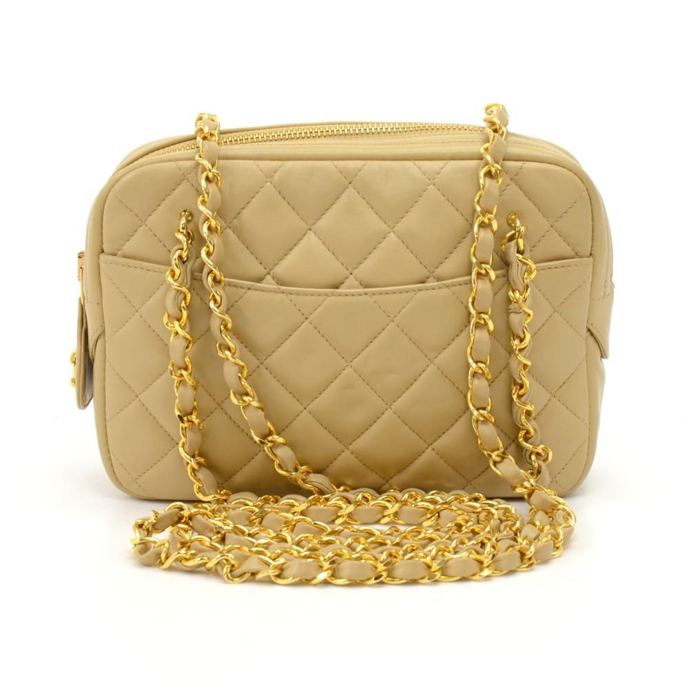Small Quilted Lambskin Leather Double Chain Shoulder Bag