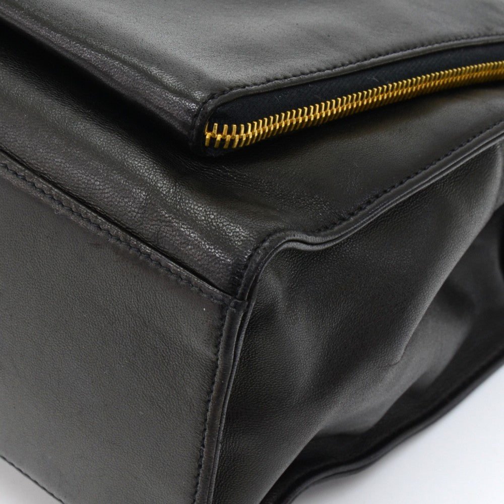 Zip Around Pocket Calfskin Leather Shoulder Bag