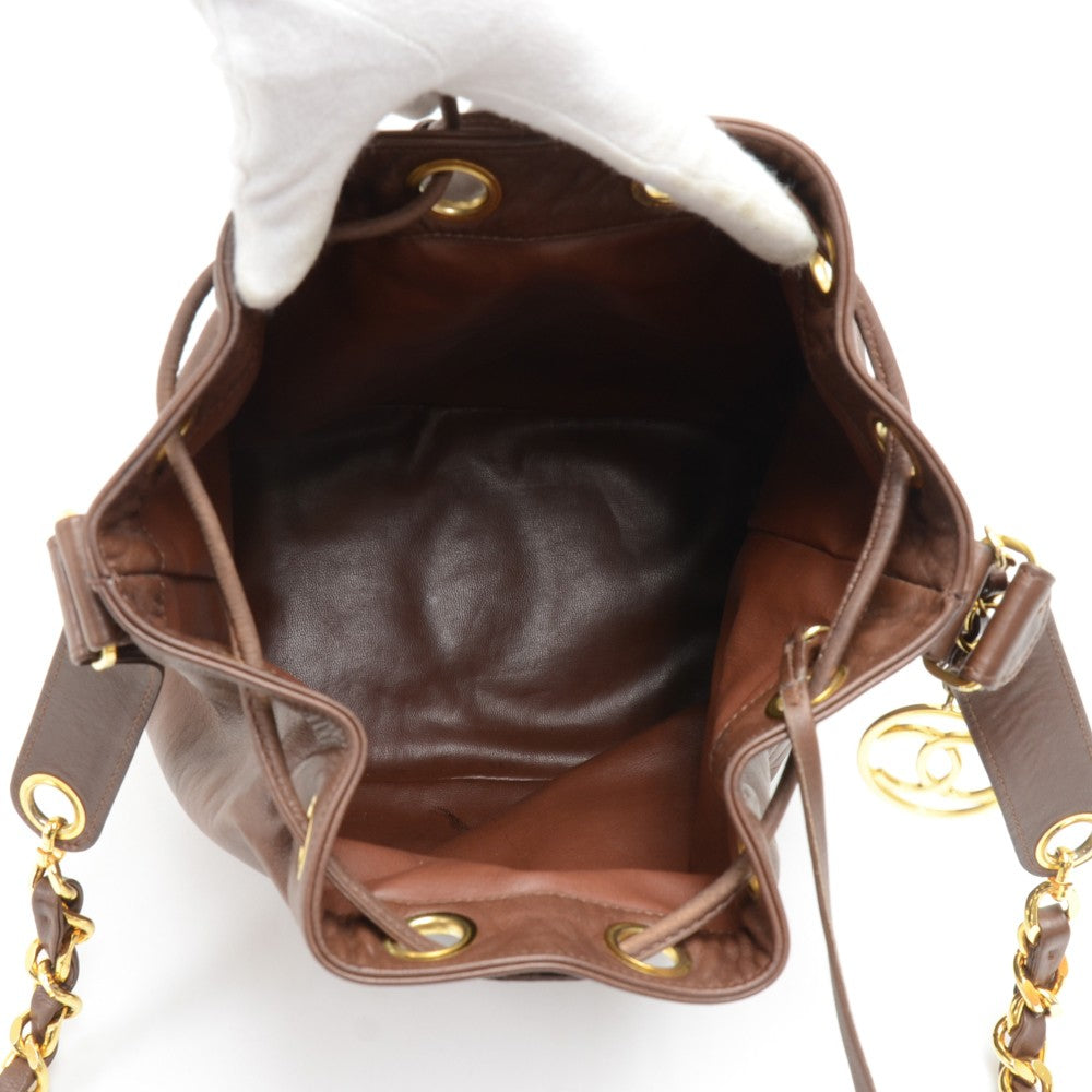 Lambskin Leather Bucket Bag with Pouch