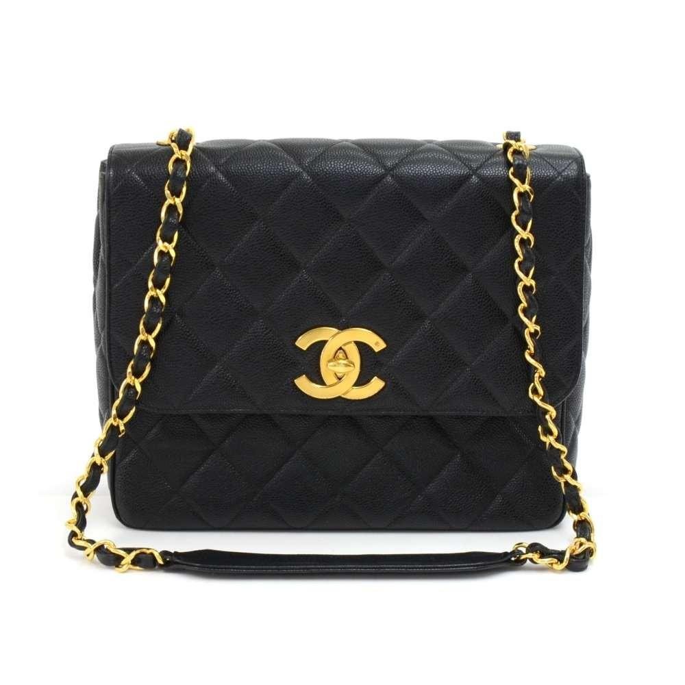 Large Single Flap Quilted Caviar Leather Shoulder Bag
