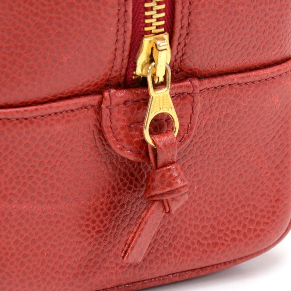Red Caviar Leather Cosmetic Bag
