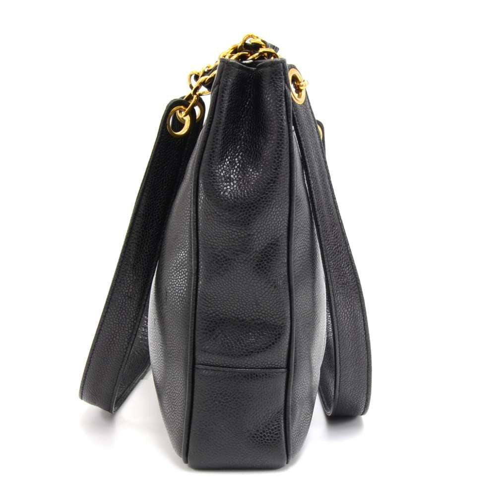 Caviar Leather Front CC Logo Tote Bag