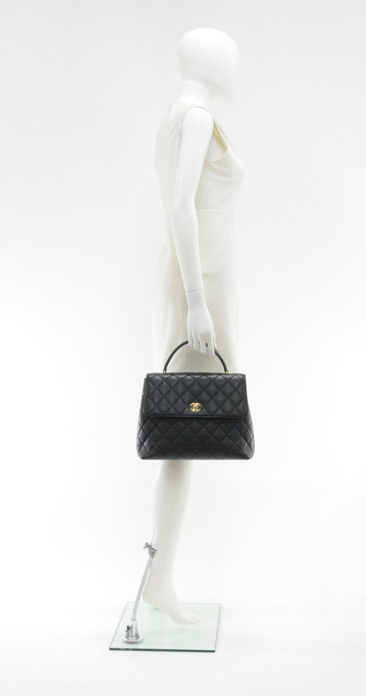 "12"" Kelly Style Quilted Caviar Leather Handbag"