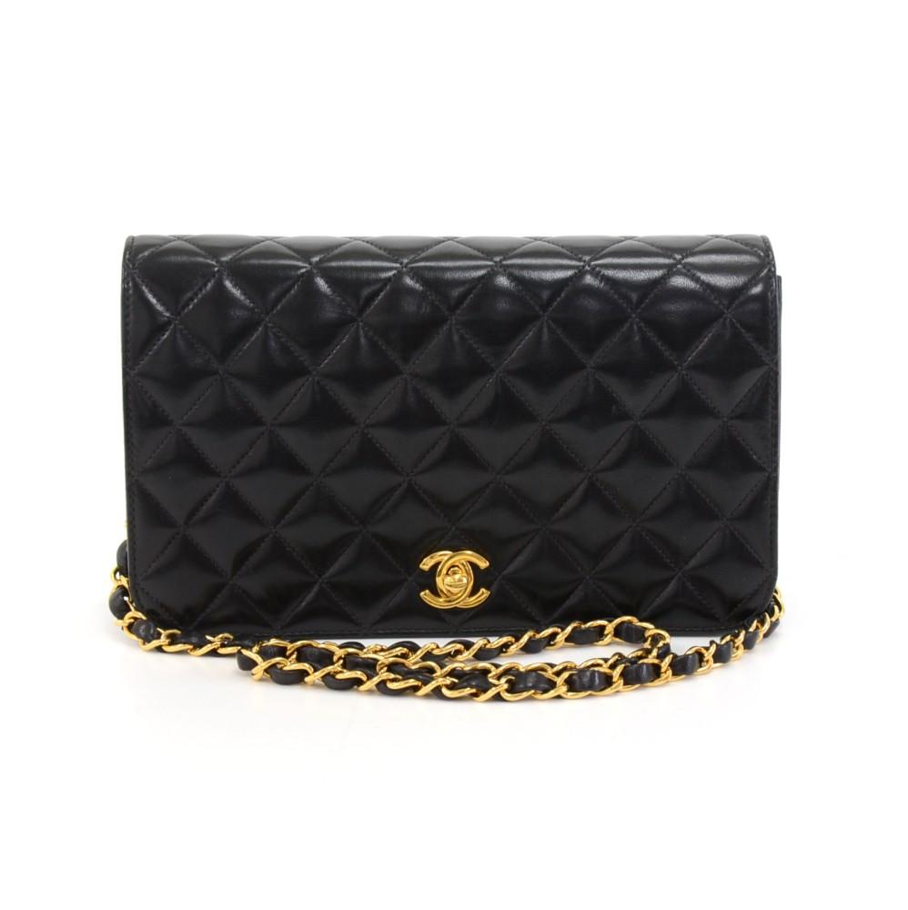 "9"" Quilted Lambskin Single Flap Shoulder Bag"