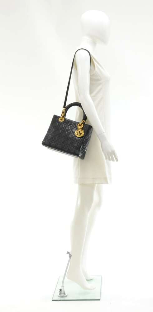 Lady Dior Cannage Quilted Lambskin Leather Handbag with Strap