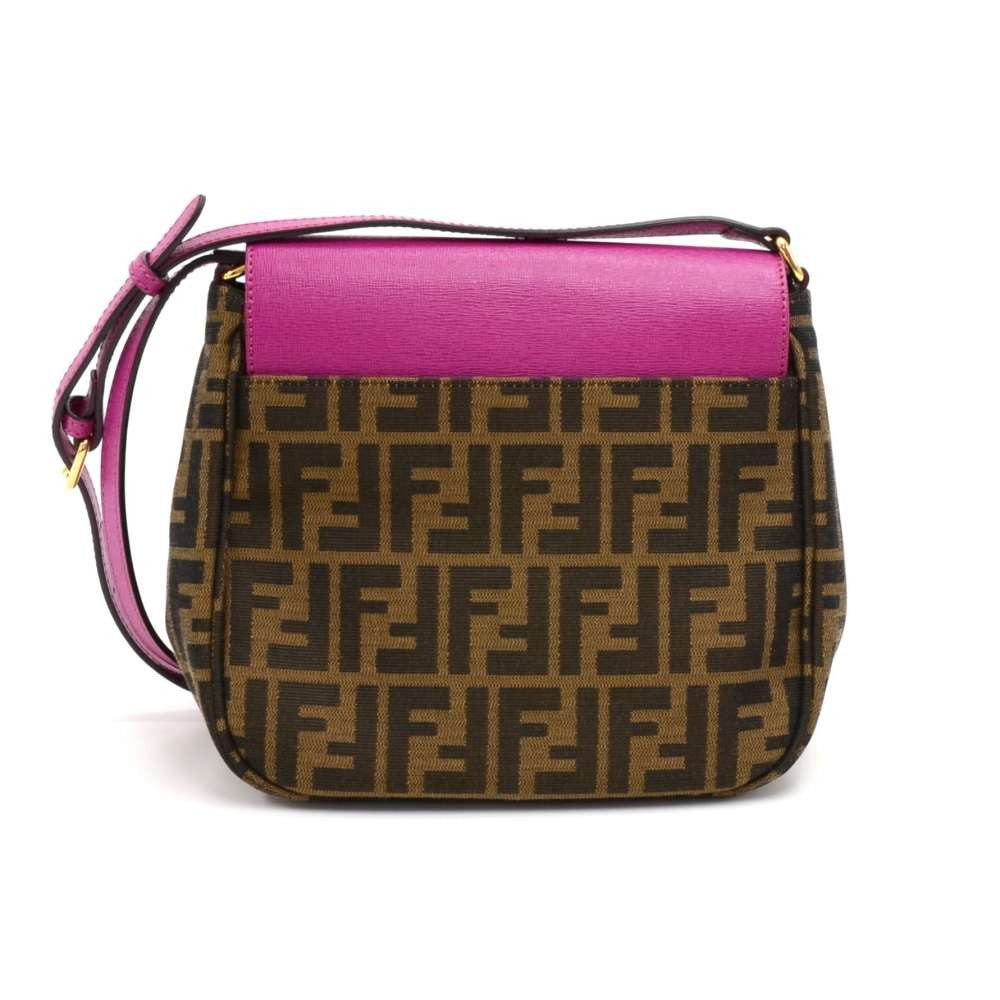 Zucca Canvas and Fuschia Leather Crossbody Bag