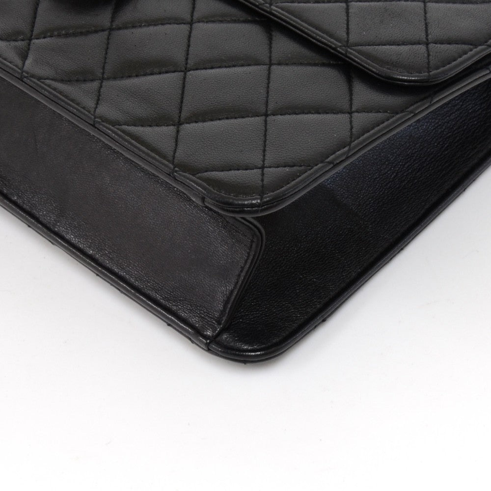 Tall Single Flap Quilted Lambskin Leather Shoulder Bag
