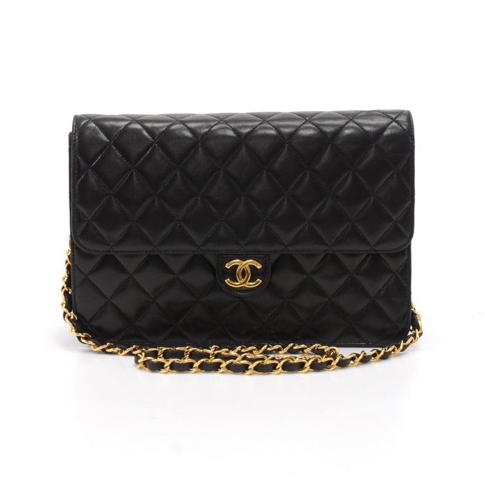 Quilted Lambskin Leather Classic Half Flap Shoulder Bag