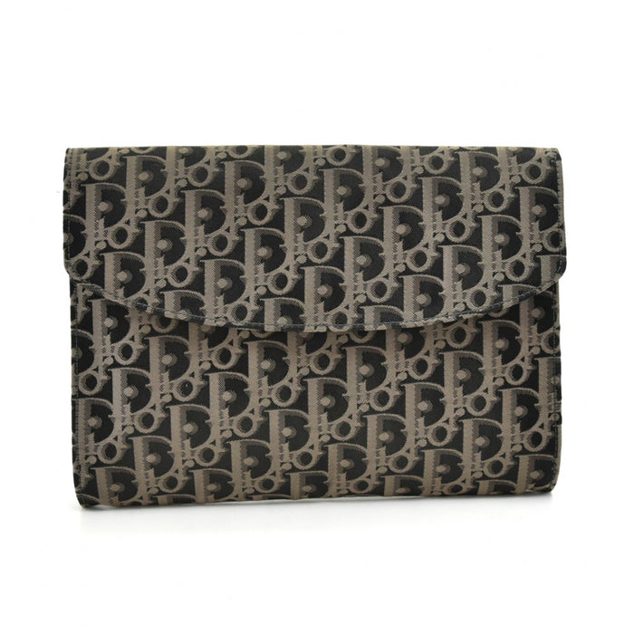 Weaved Monogram Jacquard Fabric Clutch Bag