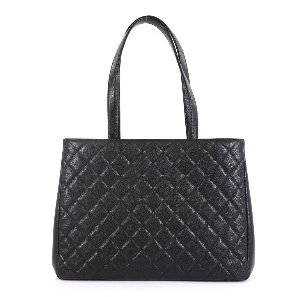 Business Affinity Caviar Leather Large Shopping Tote Bag
