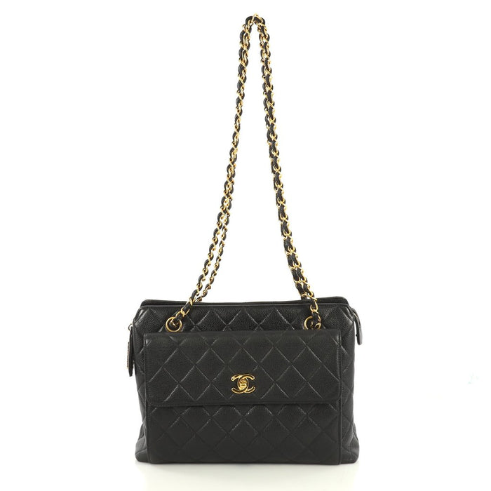 CC Shopping Quilted Caviar Leather Tote Bag