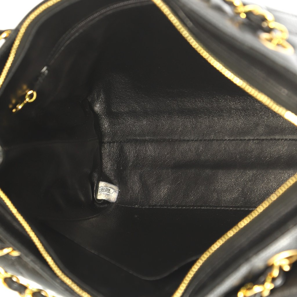 Quilted Caviar Leather Shopping Tote Bag