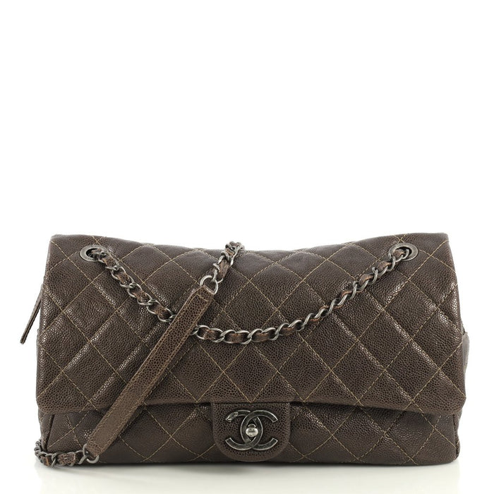 Easy Flap Jumbo Quilted Caviar Leather Bag