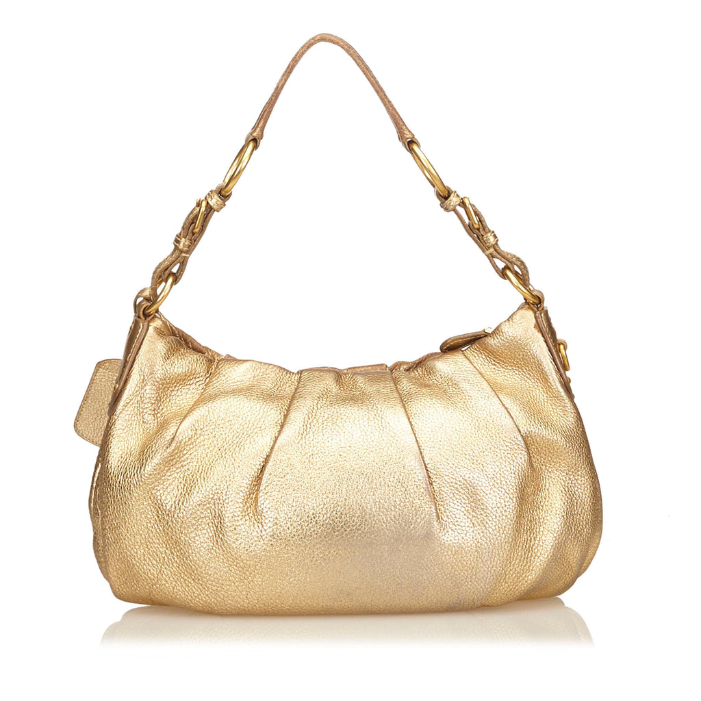 Metallic Gold Leather Hobo Bag