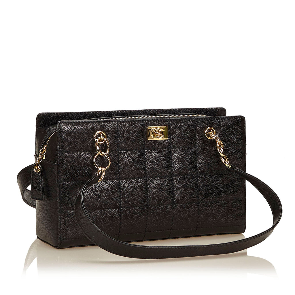Chocolate Bar Caviar Leather Shoulder Bag