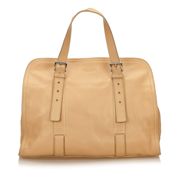 Grained Calfskin Leather Tote Bag