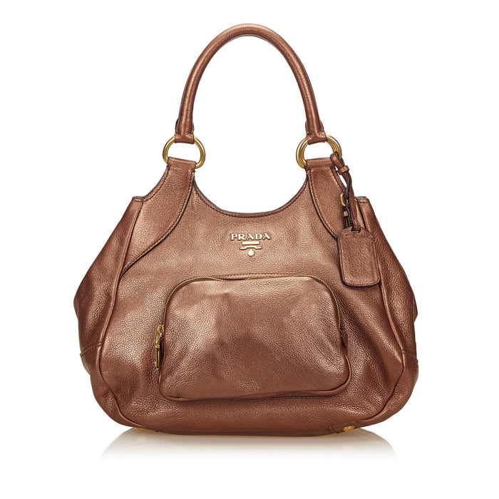 Metallic Bronze Leather Tote Bag