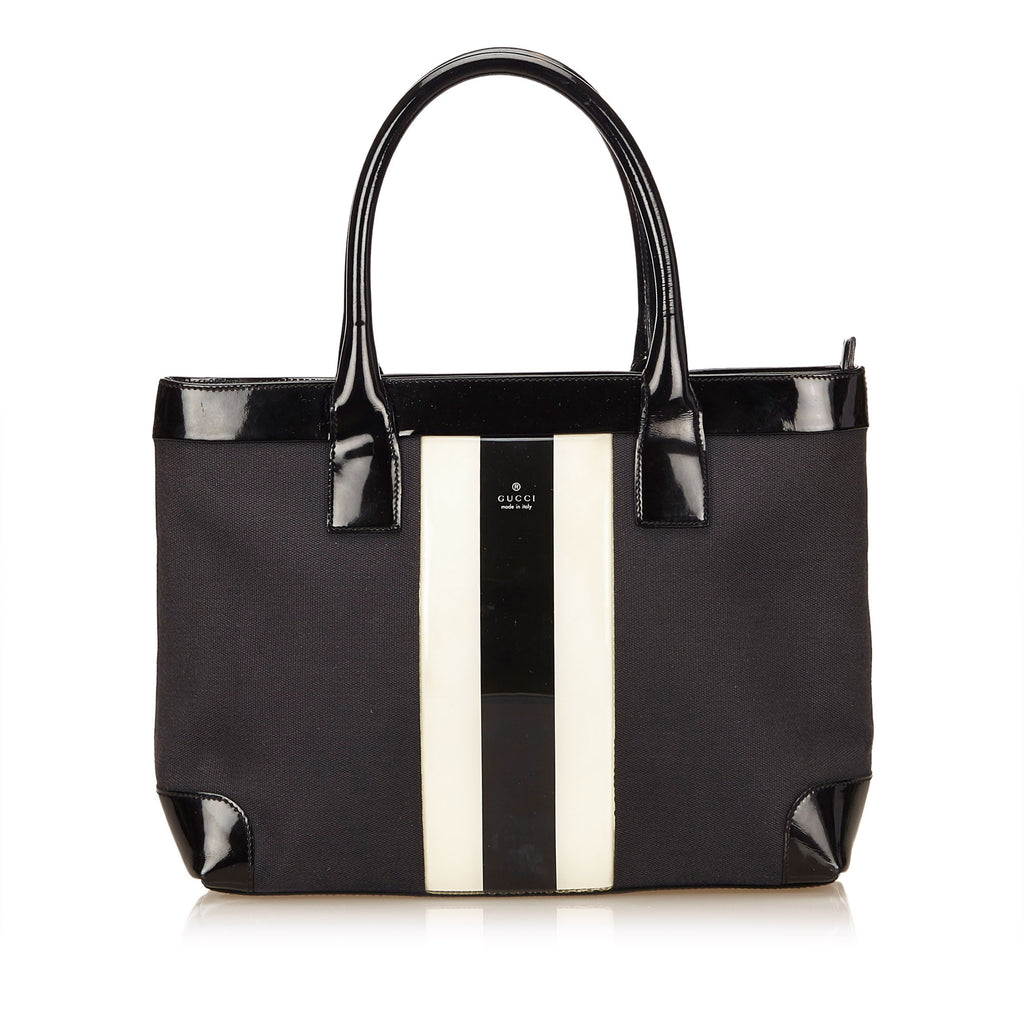 Canvas and Patent Leather Striped Tote Bag