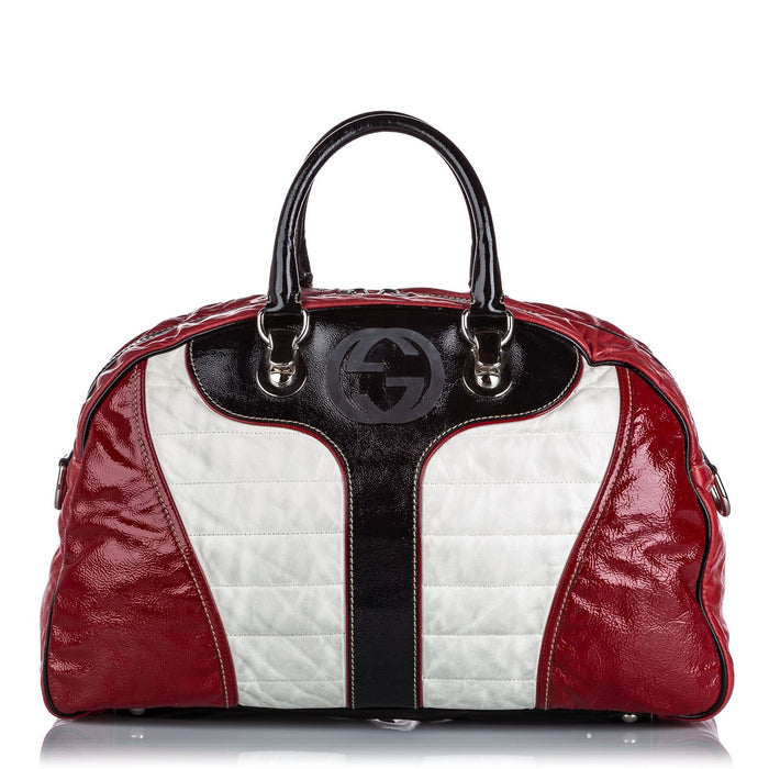 Patent Leather Web Weekender Bag