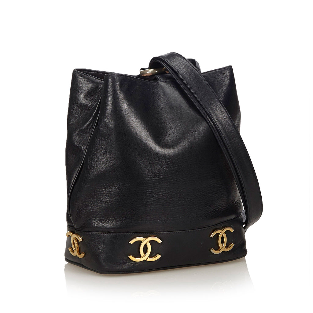 Lambskin Leather Bucket Bag