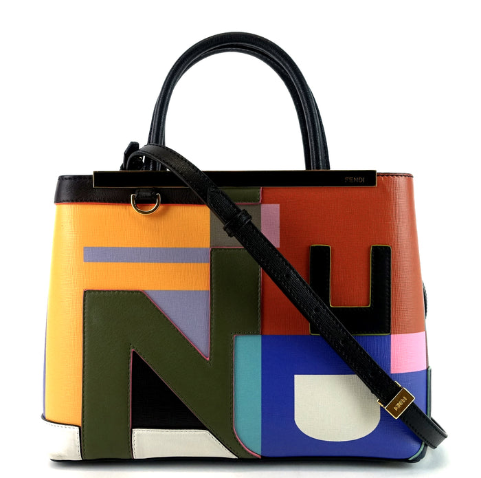 2Jours Multicolour Leather Abstract Tote Bag