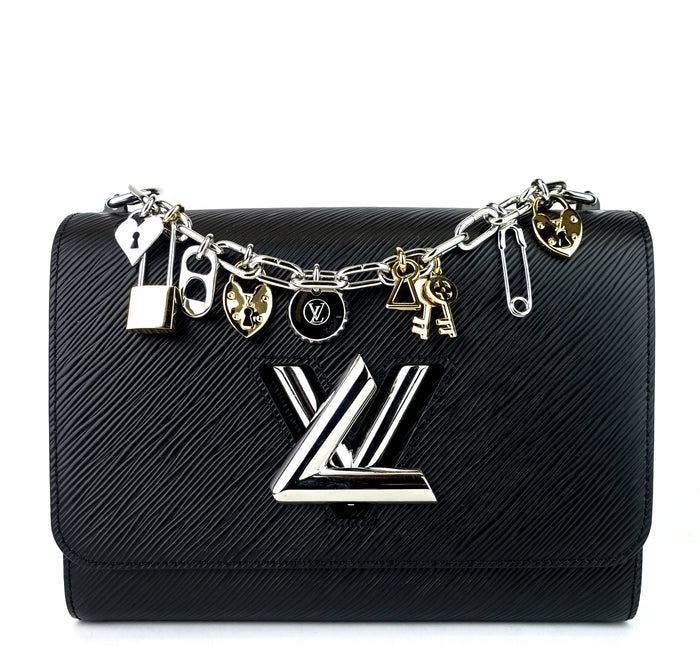 Twist MM Love Lock Charms Black Epi Leather Bag