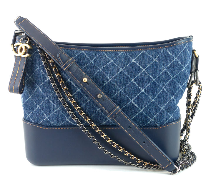 Gabrielle Denim and Smooth Calf Leather Medium Hobo Bag