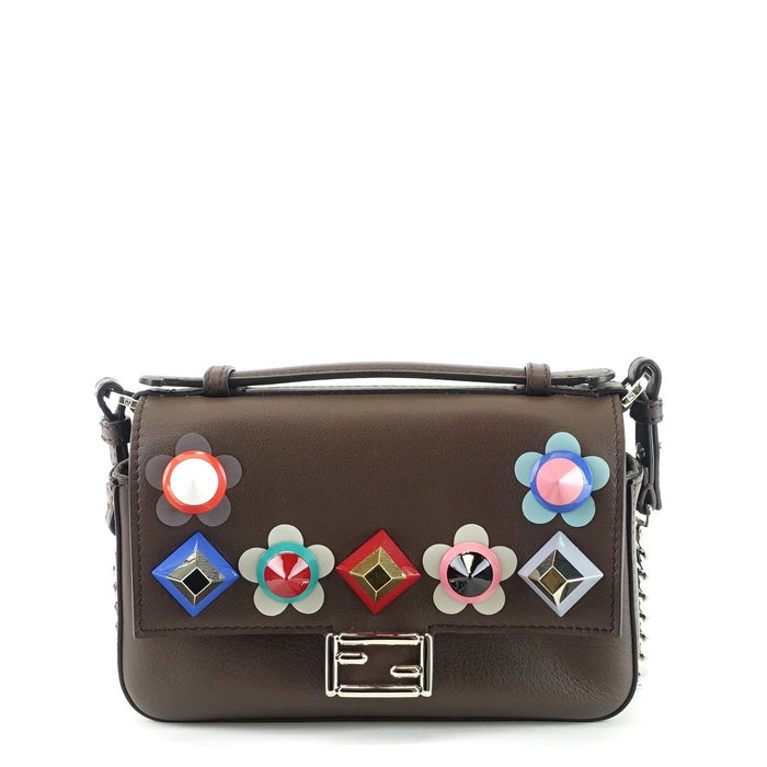 Flowerland Double Baguette Embellished Leather Micro Crossbody Bag