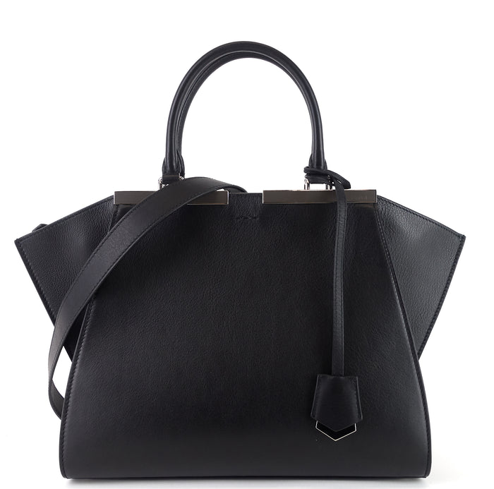 3Jours Large Black Leather Handbag
