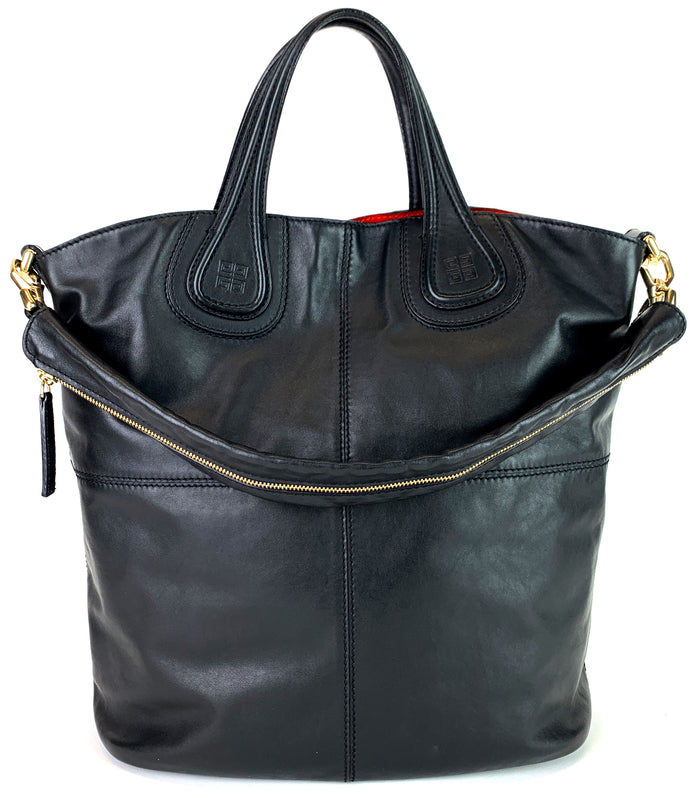 Nightingale Large Black Leather Tote Bag