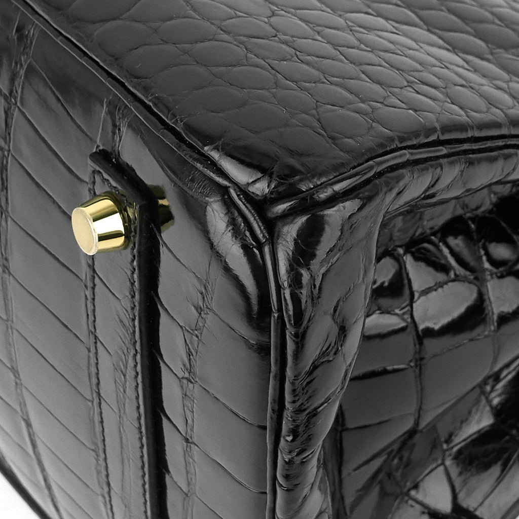 Birkin 35 Black Porosus Crocodile Handbag