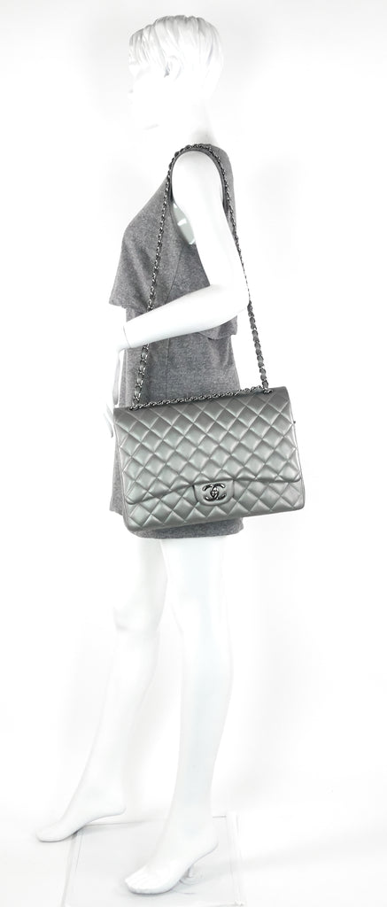 Classic Double Flap Maxi Lambskin Leather Bag