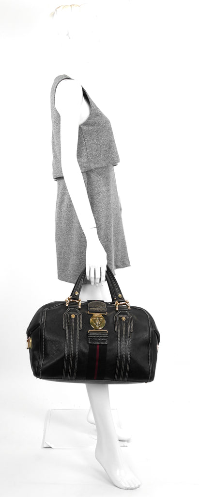 Aviatrix Large Leather Boston Bag