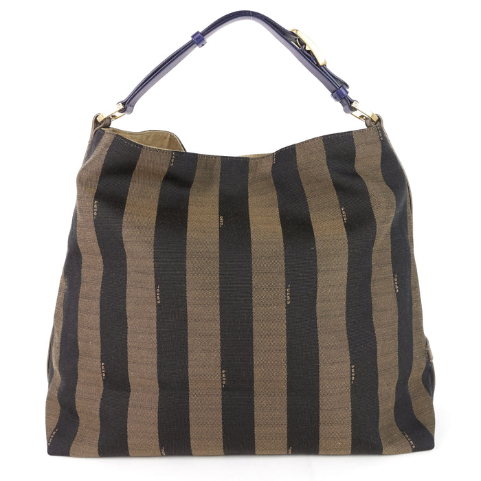 Tobacco Pequin Stripe Canvas Hobo Bag