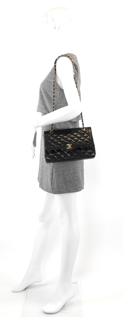 Paris Limited Edition Double Flap Lambskin Leather Bag