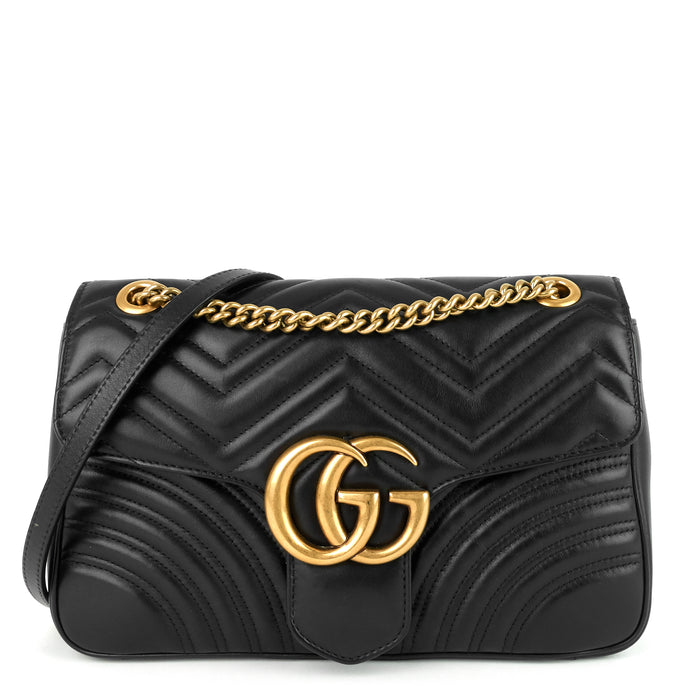GG Marmont Medium Chevron Leather Bag