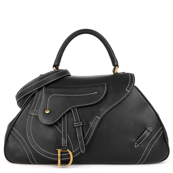 Stitched Leather Saddle Handbag