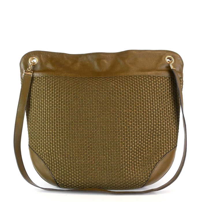 Woven Fabric and Leather Hobo Bag