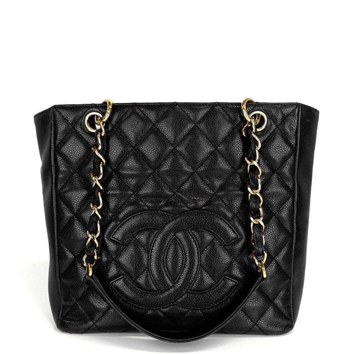 Petite Shopping Tote Quilted Caviar Leather Bag